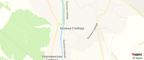 Карта Казачьей слободы в Тульской области с улицами и номерами домов