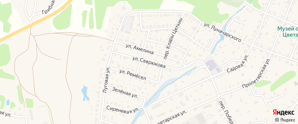 Улица Севрюкова на карте Тарусы с номерами домов