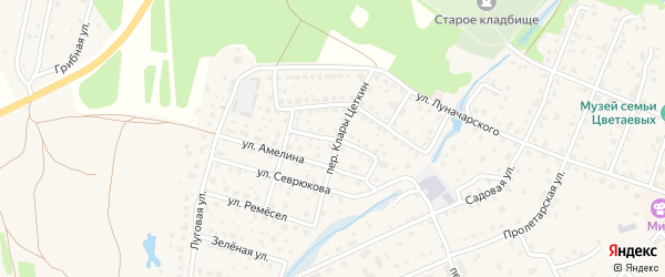 Улица К.Цеткин на карте Тарусы с номерами домов