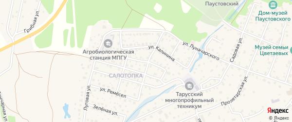 Переулок К.Цеткин на карте Тарусы с номерами домов