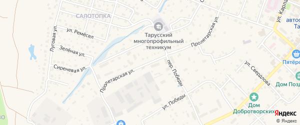 Пролетарская улица на карте Тарусы с номерами домов