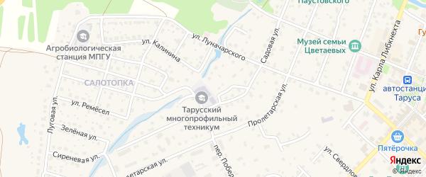 Переулок Калинина на карте Тарусы с номерами домов