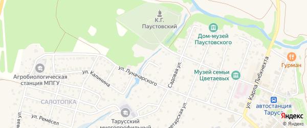 Переулок Луначарского на карте Тарусы с номерами домов