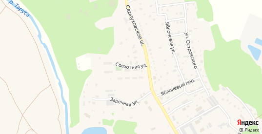 Совхозная улица в Тарусе с номерами домов на карте. Спутник и схема онлайн