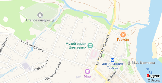 Улица Урицкого в Тарусе с номерами домов на карте. Спутник и схема онлайн