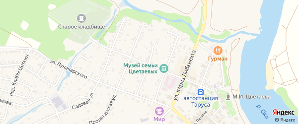 Улица Урицкого на карте Тарусы с номерами домов