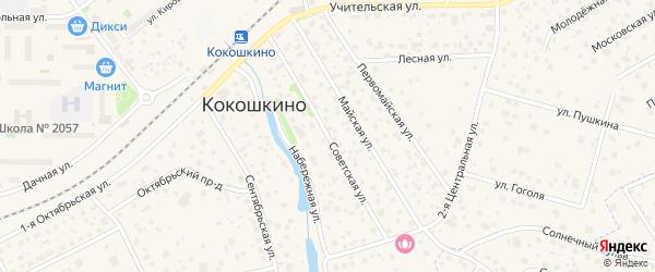 Советская улица на карте поселка Кокошкино с номерами домов