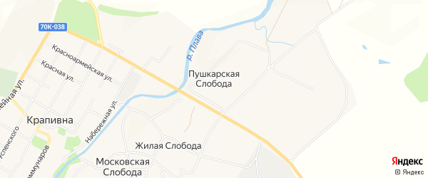 Карта Пушкарской слободы в Тульской области с улицами и номерами домов