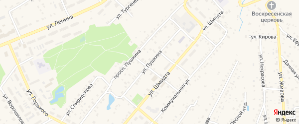Улица Пушкина на карте Тарусы с номерами домов