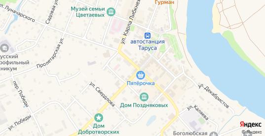 Переулок Тарусский 1-ГК в Тарусе с номерами домов на карте. Спутник и схема онлайн