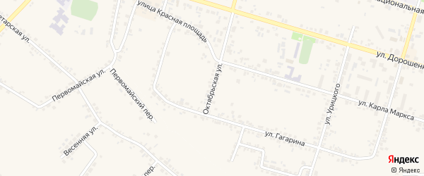 Октябрьская улица на карте Корочи с номерами домов