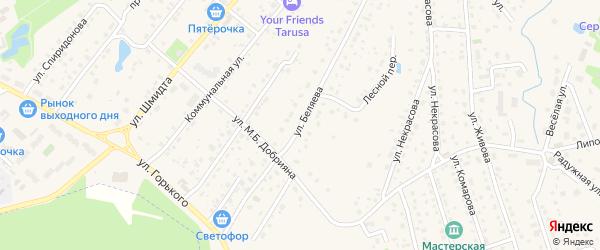 Улица Беляева на карте Тарусы с номерами домов