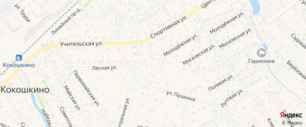 Спортивная улица на карте поселка Кокошкино с номерами домов