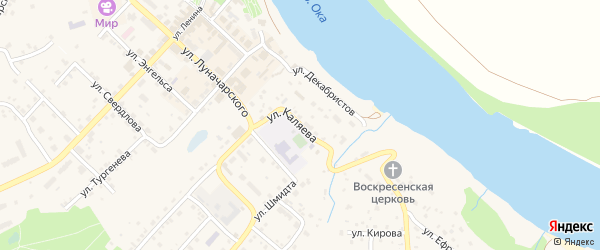 Улица Каляева на карте Тарусы с номерами домов