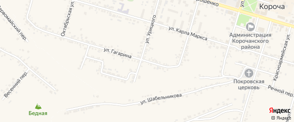Улица Гагарина на карте Корочи с номерами домов