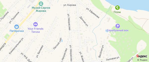 Переулок Некрасова на карте Тарусы с номерами домов