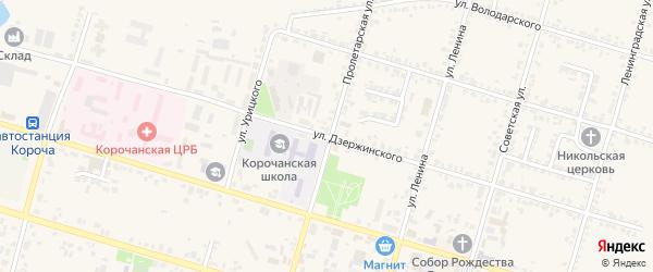 Улица Дзержинского на карте Корочи с номерами домов