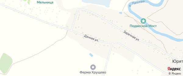 Дачная улица на карте деревни Юрятино Калужской области с номерами домов