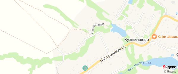 Цветочная улица на карте села Кузьмищево Калужской области с номерами домов