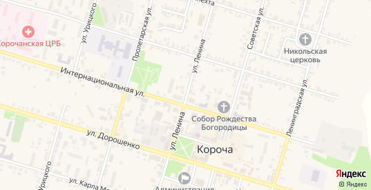 Улица Ленина в Короче с номерами домов на карте. Спутник и схема онлайн