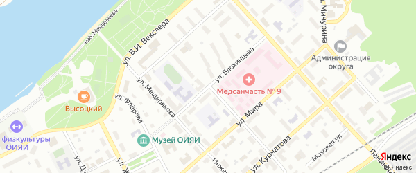 Улица Д.И.Блохинцева на карте Дубны с номерами домов