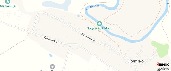 Заречная улица на карте деревни Юрятино Калужской области с номерами домов