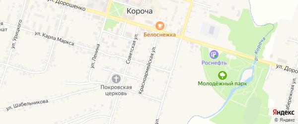 Красноармейская улица на карте Корочи с номерами домов