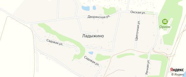 Окская улица на карте деревни Ладыжино Калужской области с номерами домов
