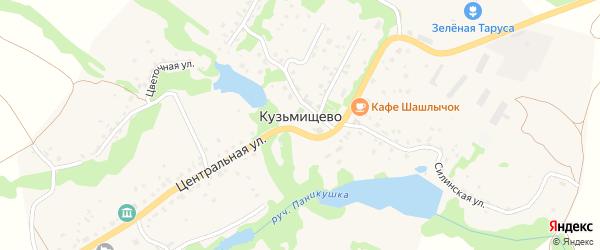Дачная улица на карте села Кузьмищево Калужской области с номерами домов