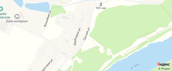 Окская улица на карте деревни Строителя Калужской области с номерами домов
