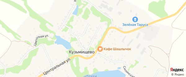 Центральный переулок на карте села Кузьмищево Калужской области с номерами домов