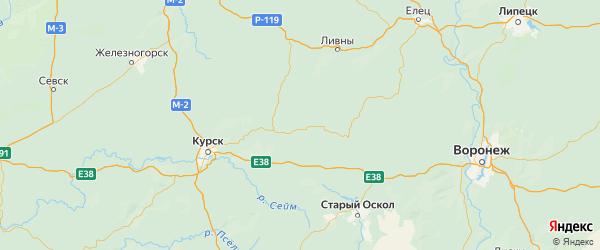 Карта Черемисиновского района Курской области с городами и населенными пунктами