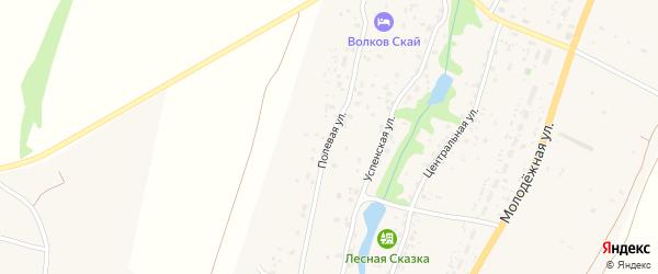 Полевая улица на карте деревни Слащево Калужской области с номерами домов