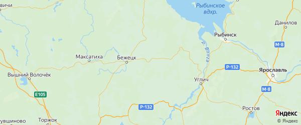 Карта Сонковского района Тверской области с городами и населенными пунктами