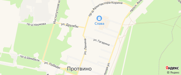 ГСК Строитель-2 на карте Протвино с номерами домов