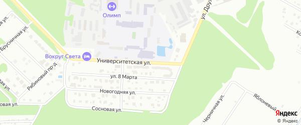 Университетская улица на карте Дубны с номерами домов