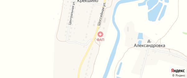 Шоссейная улица на карте деревни Крекшино Тульской области с номерами домов