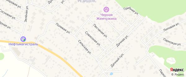 Совхозная улица на карте деревни Юрлово с номерами домов