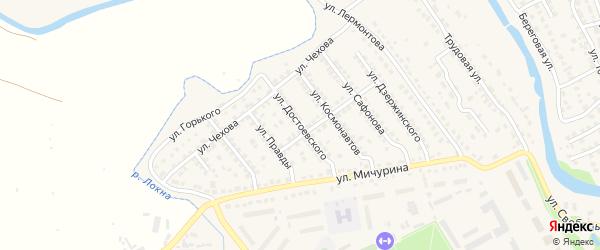 Улица Достоевского на карте Плавска с номерами домов