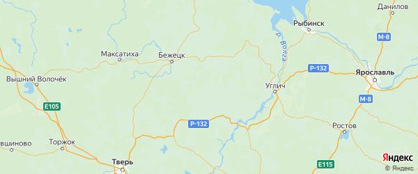 Карта Кесовогорского района Тверской области с городами и населенными пунктами