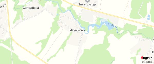 Карта деревни Игумново города Чехов в Московской области с улицами и номерами домов