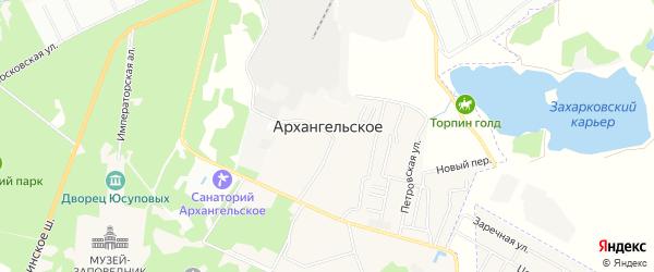 Территория СНТ Архангельское-2 на карте поселка Архангельского с номерами домов