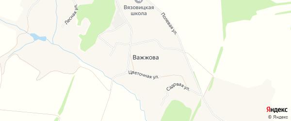 Карта деревни Важжова в Орловской области с улицами и номерами домов