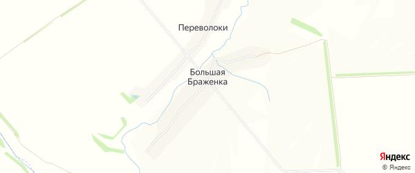 Карта деревни Большей Браженки в Тульской области с улицами и номерами домов