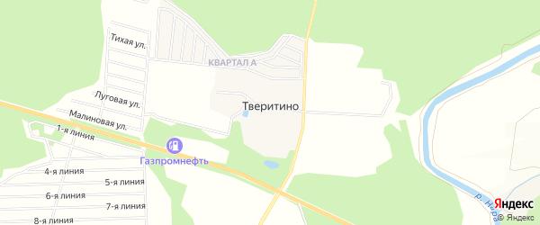Карта деревни Тверитино в Московской области с улицами и номерами домов