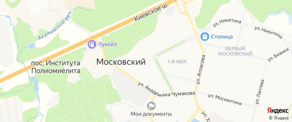 Территория СНТ Просвещенец на карте Московского с номерами домов