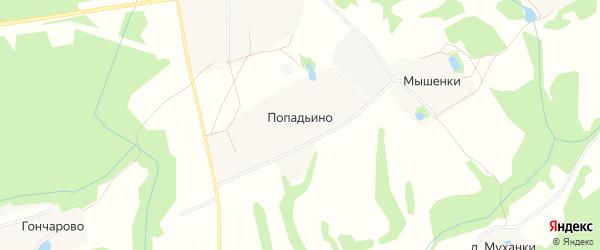 Карта деревни Попадьино в Московской области с улицами и номерами домов