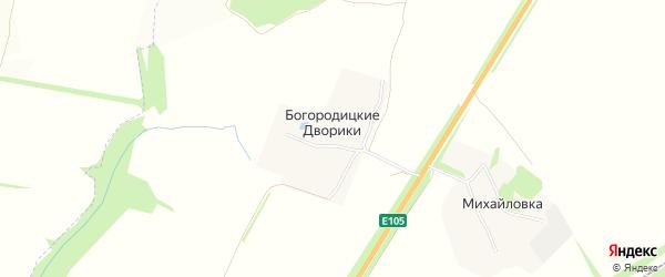 Карта деревни Богородицкие Дворики в Тульской области с улицами и номерами домов