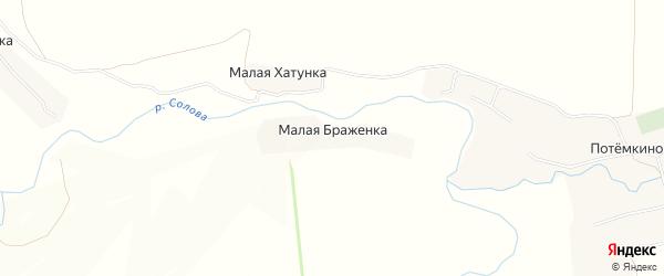 Карта деревни Малой Браженки в Тульской области с улицами и номерами домов