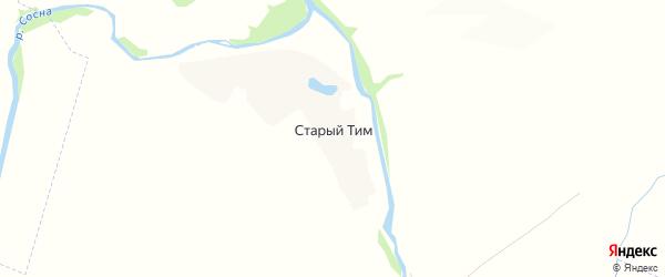 Карта деревни Старого Тима в Орловской области с улицами и номерами домов